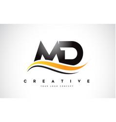Md m d swoosh letter logo design with modern vector