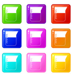 Measuring cup icons 9 set vector