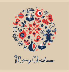 Merry christmas icons composition vector