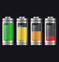 metal with glass batteries set of various types vector image