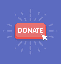 Modern donate button design with mouse click vector