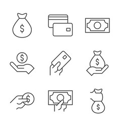 money outline icons on white background money vector image