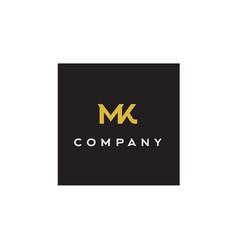 monogram initials letter m k mk logo design vector image