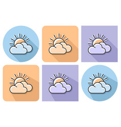 outlined icon of sun with clouds partly cloudy vector image