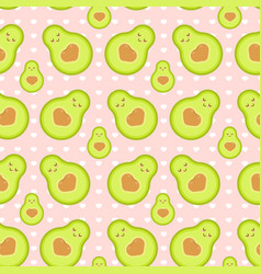 Pattern with avocado texture with hearts vector