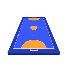 perspective view field for futsal orange outline vector image