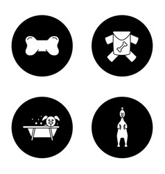 pets supplies glyph icons set vector image
