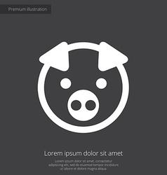 pig premium icon white on dark background vector image