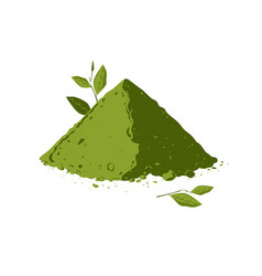 Pile of matcha tea powder with tea leaves vector