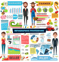 Professions people infographic charts and diagrams vector