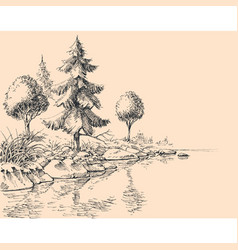 river flow hand drawing river bank trees vector image