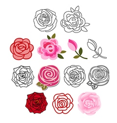 Roses with leaves set vector
