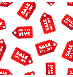 sale 50 off hang tag seamless pattern background vector image