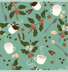 seamless pattern with coffee plant grains mugs vector image