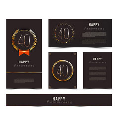 Set 40th happy anniversary cards template vector