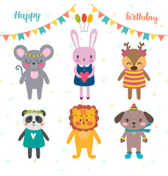 Set of cute cartoon animals for happy birthday vector