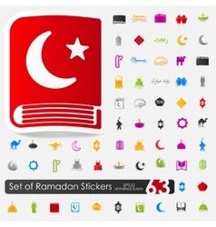 Set of ramadan stickers vector