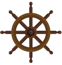 Ship steering wheel isolated on white vector