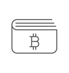 simple bitcoin wallet thin line symbol icon design vector image