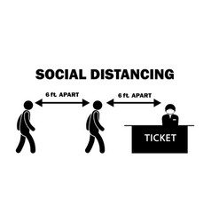 Social distancing 6ft feet apart stick figure vector