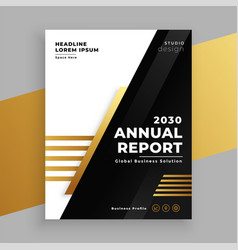 Stylish golden and black annual report brochure vector