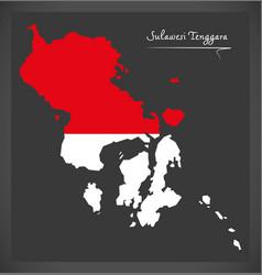 Sulawesi tenggara indonesia map with indonesian vector