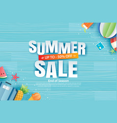 Summer sale with decoration origami on blue vector