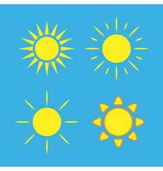 Sun icons set blue Collection yellow signs vector