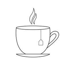 Tea cup black linear art isolated vector