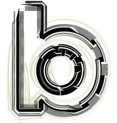Technological font LETTER b vector