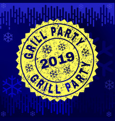 Textured grill party stamp seal on winter vector