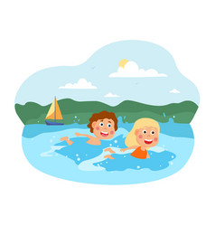 two happy little kids are swimming in sea vector image