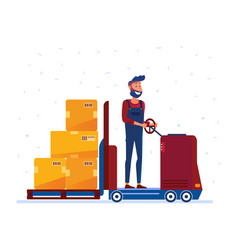 warehouse worker moving boxes with electric vector image