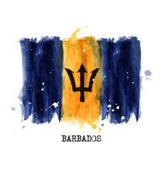 Watercolor painting flag of barbados vector