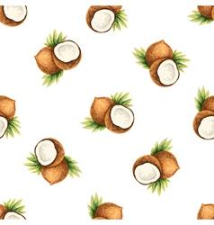 Watercolor pattern fruit coconut vector