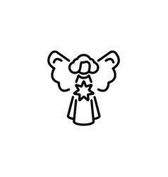web line icon angel with star christmas angel vector image