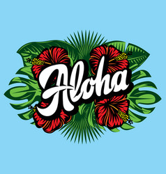with aloha lettering palm vector image