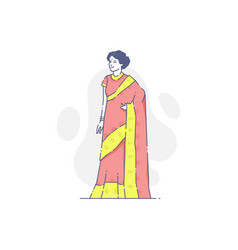 Woman in traditional indian clothes vector