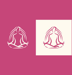 yoga logo girl sitting in lotus position spa vector image