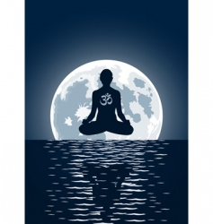 Yoga over moon background vector
