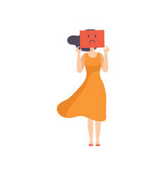 Young woman holding a sheet paper with a sad vector