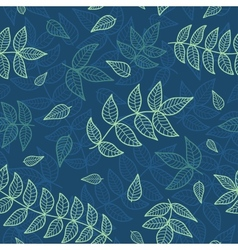 blue and green leaves seamless pattern vector image