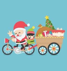 Christmas Santa Claus driving a bike have Elves vector image