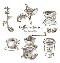 coffee set hand drawing vintage style vector image vector image