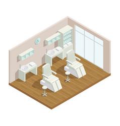 cosmetology studio isometric interior vector image vector image