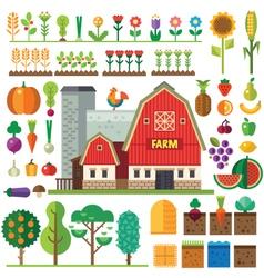 Farm in village vector image vector image
