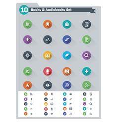 Flat e-book icon set vector image vector image