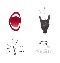 flat music symbol rock gesture mouth note vector image
