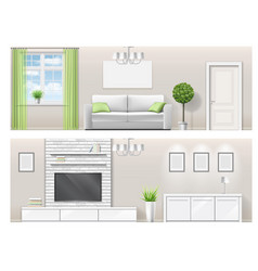 interior of a bright living room with furniture vector image