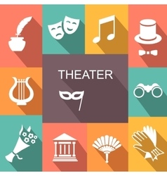 Theater acting icons set isolated vector image